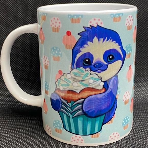 Sloth Holding Cupcake Ceramic Coffee Mug